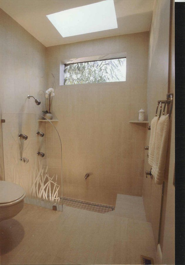 Custom Etched Glass, Sunken Roman Tub in a soothing and ...