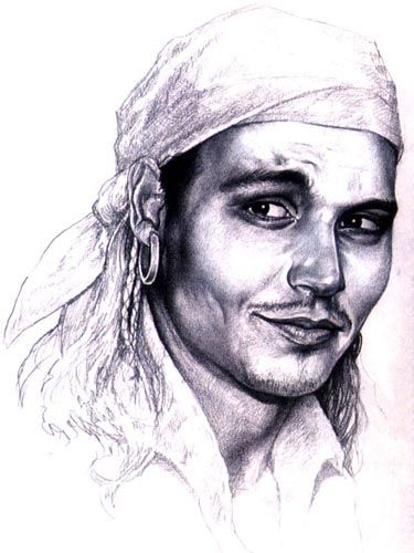 The original pirate movie character design. Amazing how the costume designer drew Johnny Depp's face: one eyebrow lifted, the expression, so sexy!