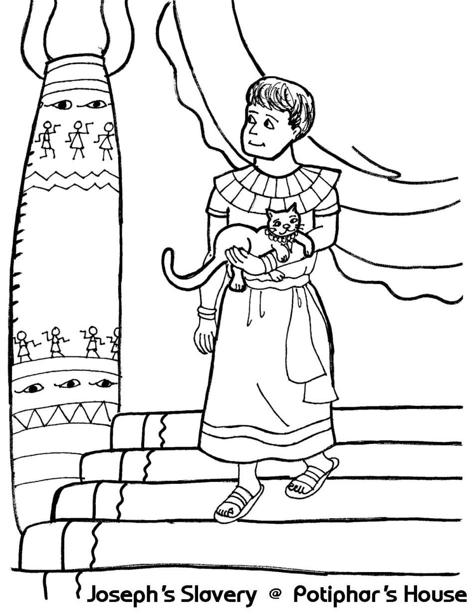 Joseph 39 s slavery at potiphar 39 s house genesis 39 for Bible coloring pages joseph