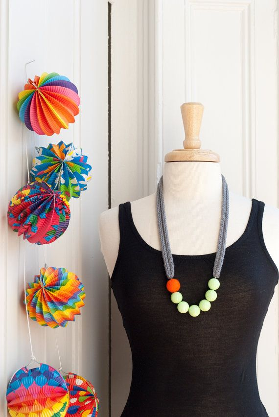 Color Story Bold Statement Necklace - Long Grey I-cord - Lime and Felt beads