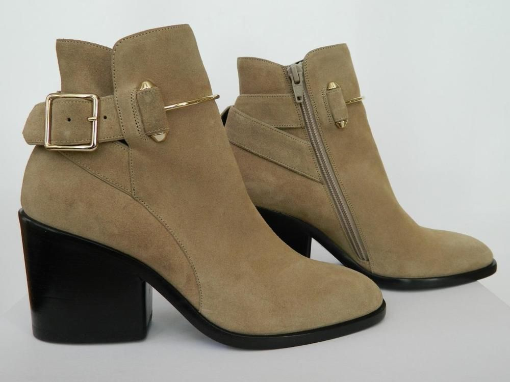 12bfff40579 Balenciaga Bootie Wrap Metal Bar Buckle Camel Suede Heel Boot NIB $1255 37  #Balenciaga #AnkleBoots