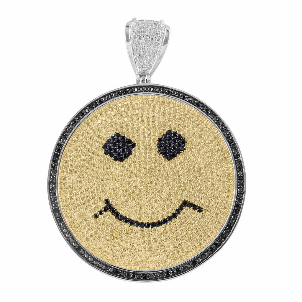 14k white gold finish yellow black lab diamond smiley face pendant the smiley face design pendant is wrapped around in 14k white gold finish and inserted with aloadofball