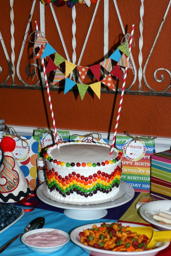 Rainbow Party Cake Bunting by BugabooBliss on Etsy, $12.00
