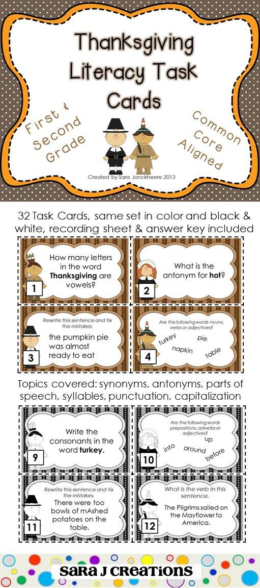 Thanksgiving ELA Task Cards Task cards, Second grade