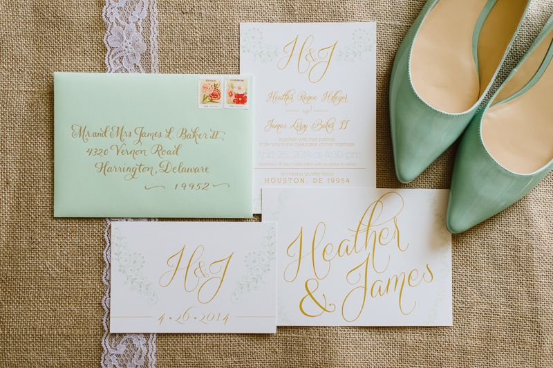 Mint And Gold Wedding Invitations With Burlap Lace