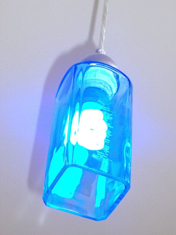 Bombay Sapphire Gin Pendant Light by GroovyGreenGlass on Etsy, $85.00