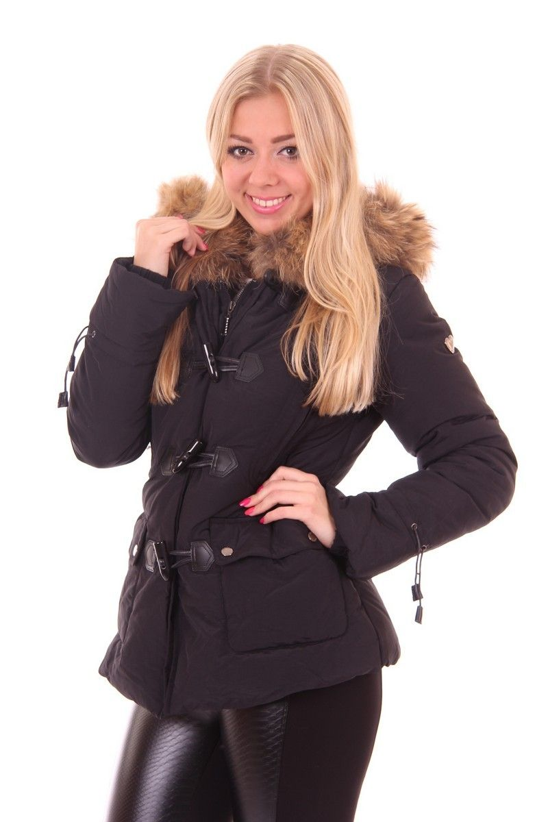 Houtje touwtje winterjas van Jacky Luxury in zwart