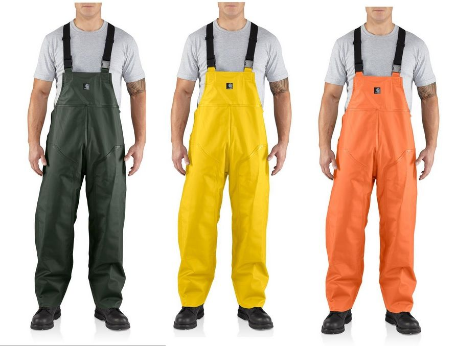 Men 39 s carhartt surrey rain bib overalls fishing and for Rain bibs fishing