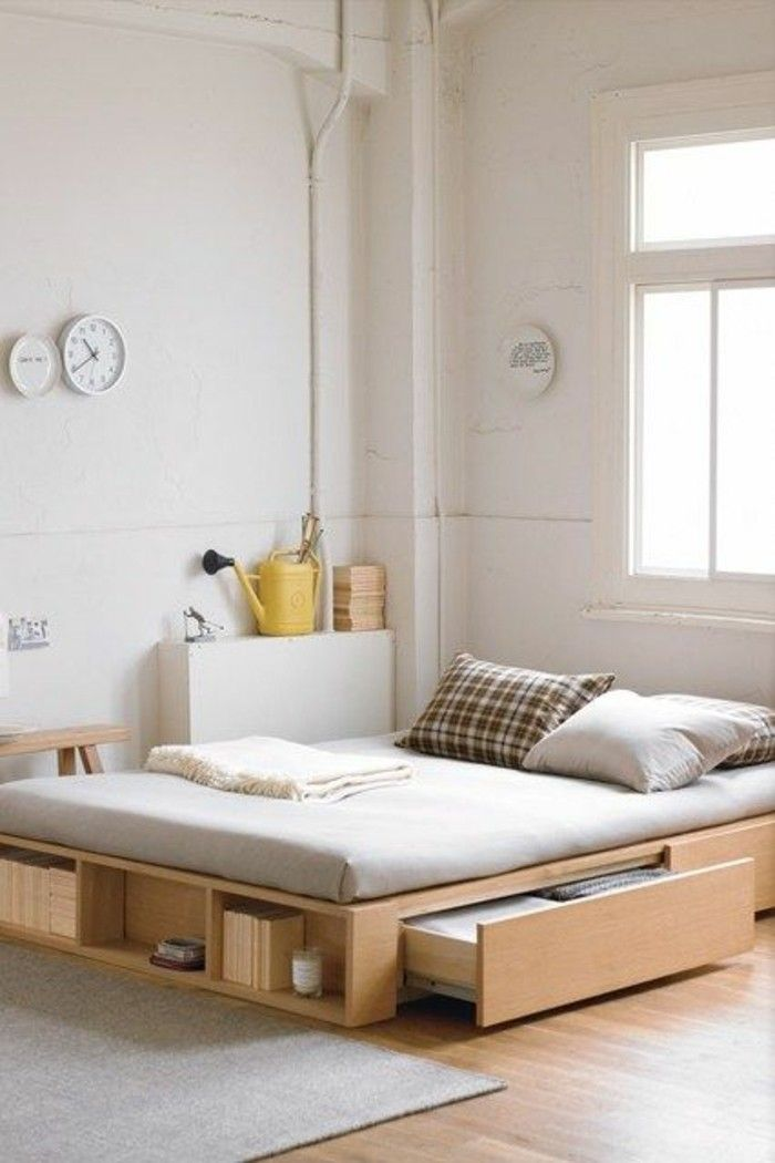 comment choisir un lit adulte design en bois clair jolie chambre a coucher avec sol en parquet clair