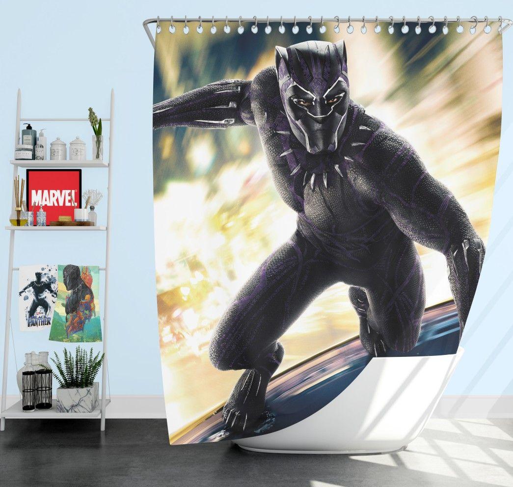 Marvel Comics Superhero Black Panther Print Shower Curtain