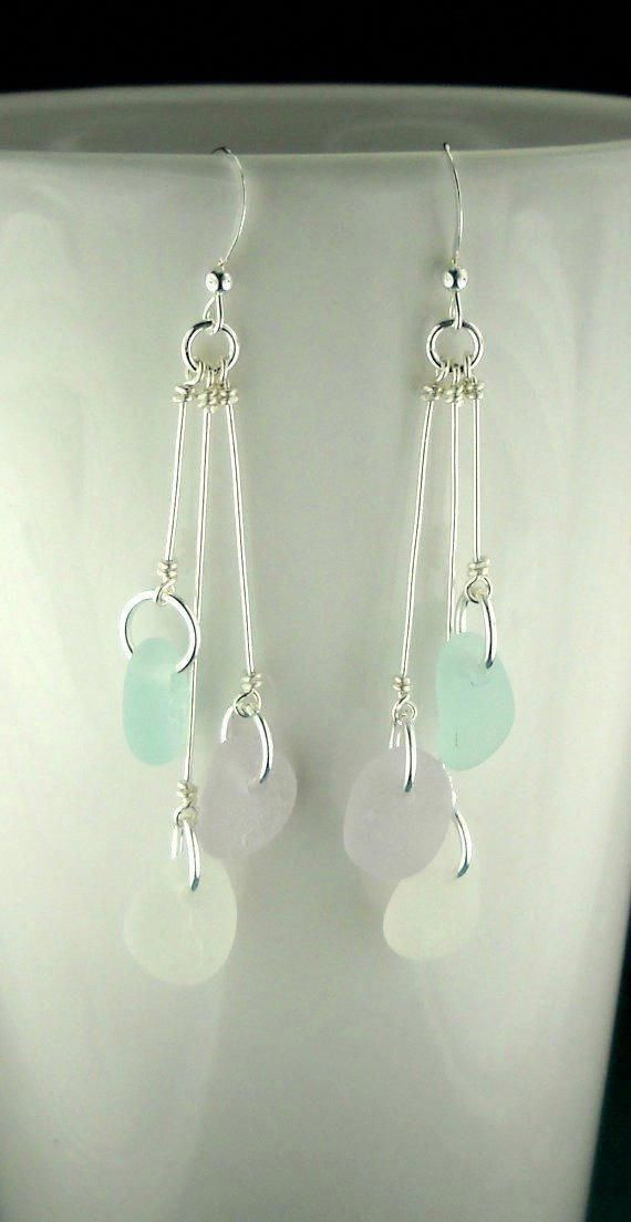 Photo of Dangle Earrings Beach Earrings GENUINE Sea Glass Jewelry