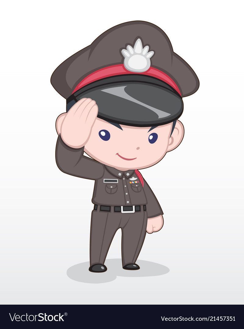 Cute Style Cartoon Thai Police Officer Standing And Saluting Illustration Download A Free Preview Or High Quality Adobe การออกแบบต วละคร การ ต น การ ต นน าร ก