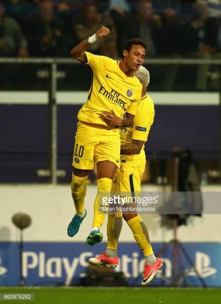 Neymar of PSG celebrates after scoring his sides third ...
