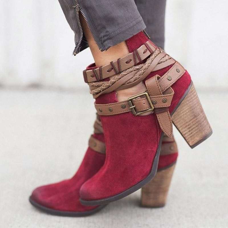 f57d0a0ca30a 6cm Chunky Heel Ankle Length Suede Women's Fashion Boots in 2019 ...