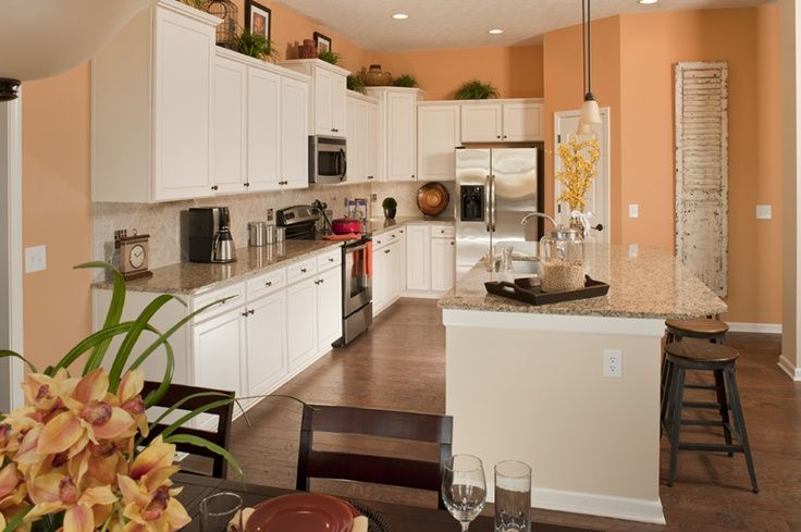 kitchen white cabinets and cream peach walls - google search