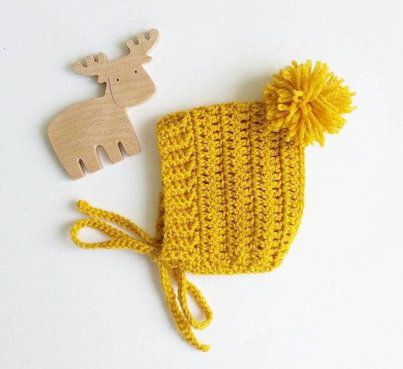 Baby bonnet/mustard bonnet/crochet bonnet/lilac bonnet/pompom/bonnet ...