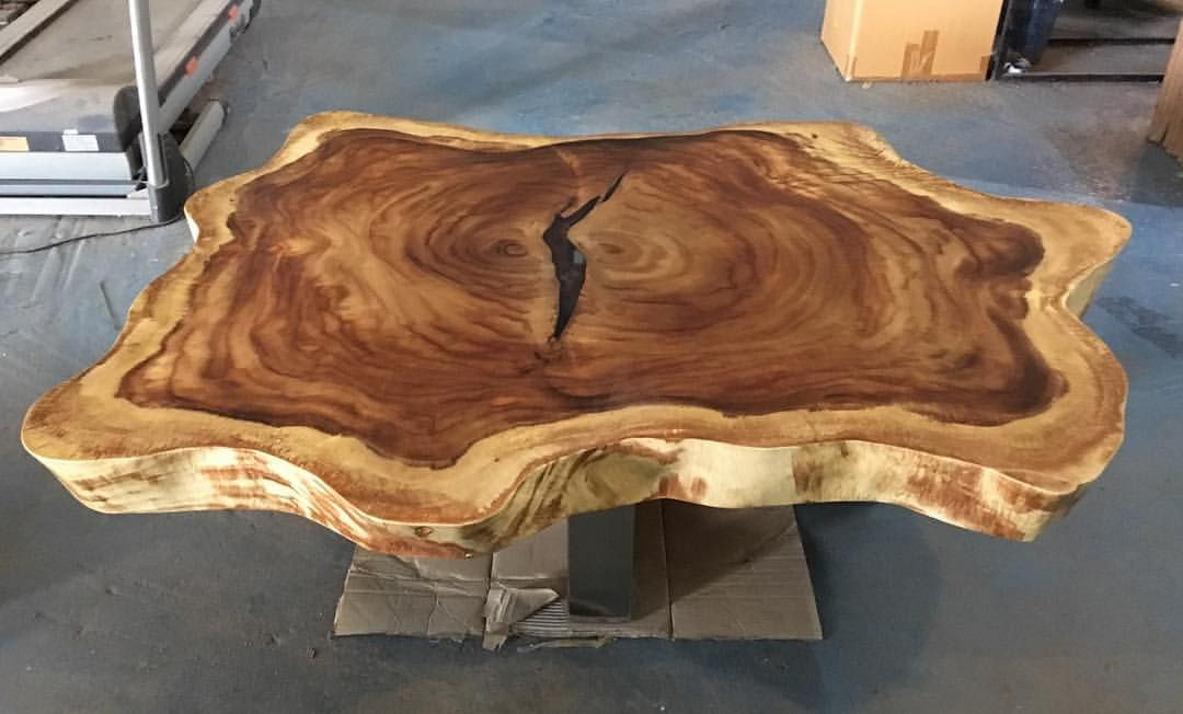 We Just Finished Creating A Clients Large 60 Live Edge Slab Wood