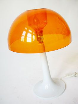 1970 S Orange And White Space Age Mod Mushroom Lamp Lamp Vintage Memory