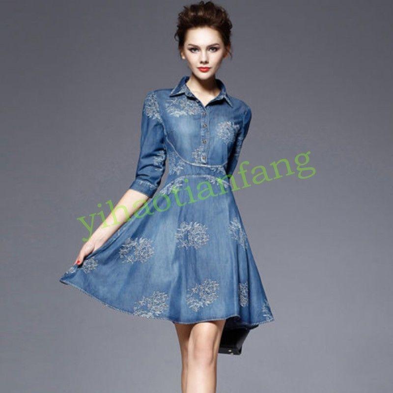 64b9835c41c Womens Mid Sleeve Hot Long Autumn Fashion Denim Casual Jeans Dress Big Size