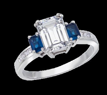 Bergio nupcial de banda: 18 Karat Gold o Platinum de montaje con White Princess Cut Diamantes de 0.22 quilates total Peso y Emerald Cut zafiros al 0.52 del total del quilate de peso -