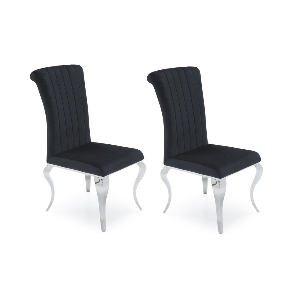 Black Dining Chairs 2 Pieces Velvet Cushioned Seat Mirrored Base