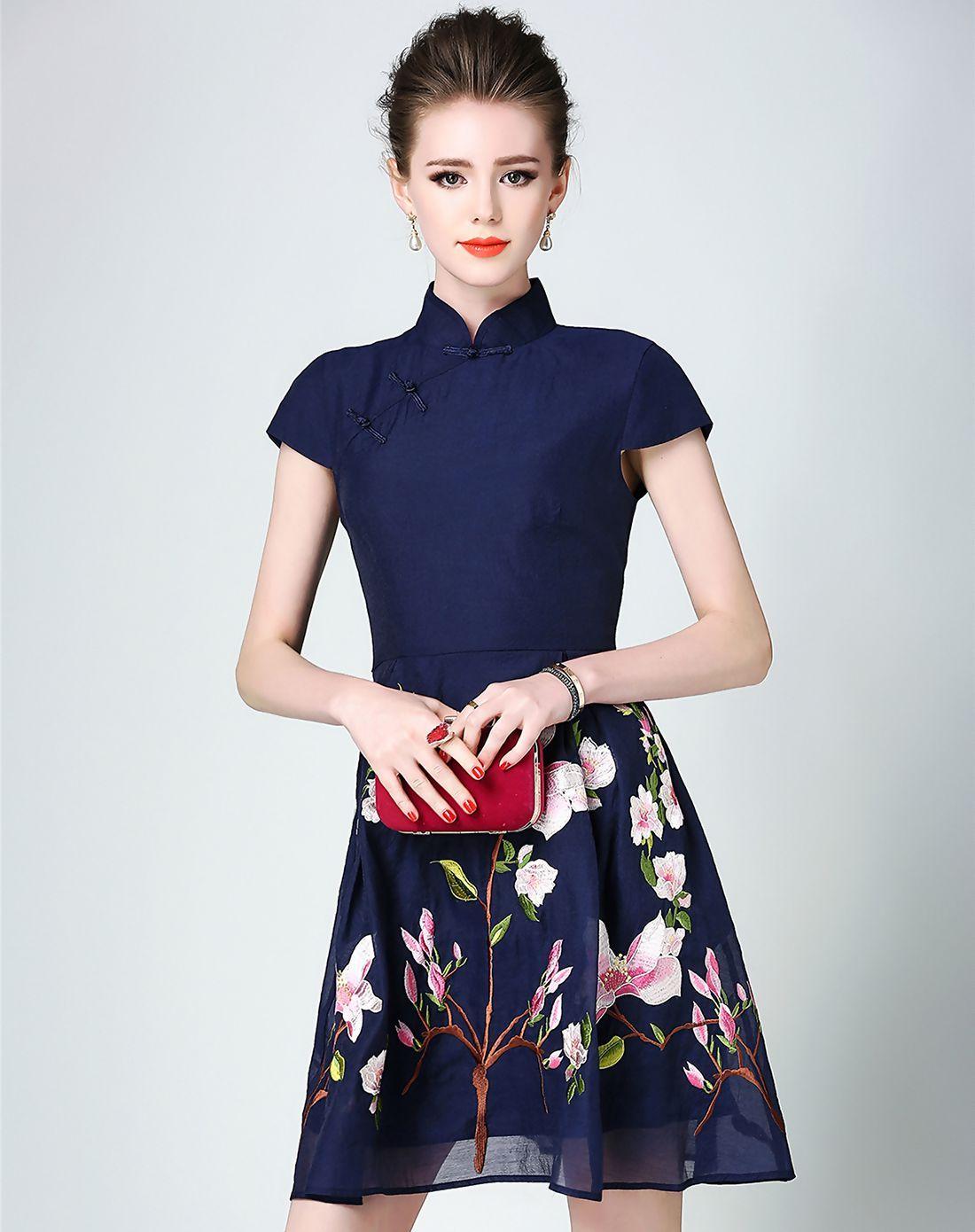 #AdoreWe #VIPme A-Line Dresses❤️Designer DDER Cheongsam Neck Dark Blue Floral Print Skater Dress - AdoreWe.com
