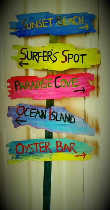Beach Signs Made Out Of An Old Wooden Fence For My Coastal Decor In My  Lounge