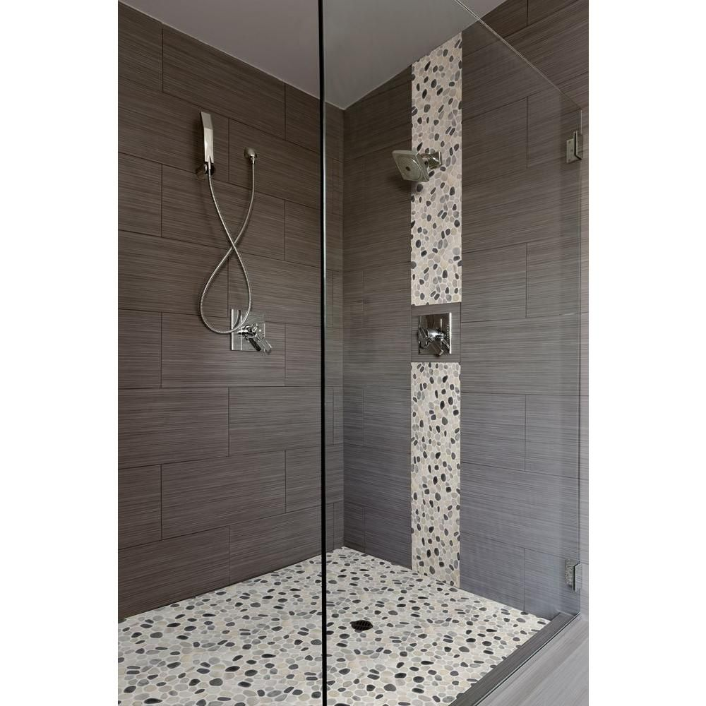 Ms International Metro Charcoal 12 In X 24 In Glazed Porcelain Floor And Wall Tile Cultured Marble Shower Walls Home Depot Bathroom Tile Marble Shower Walls