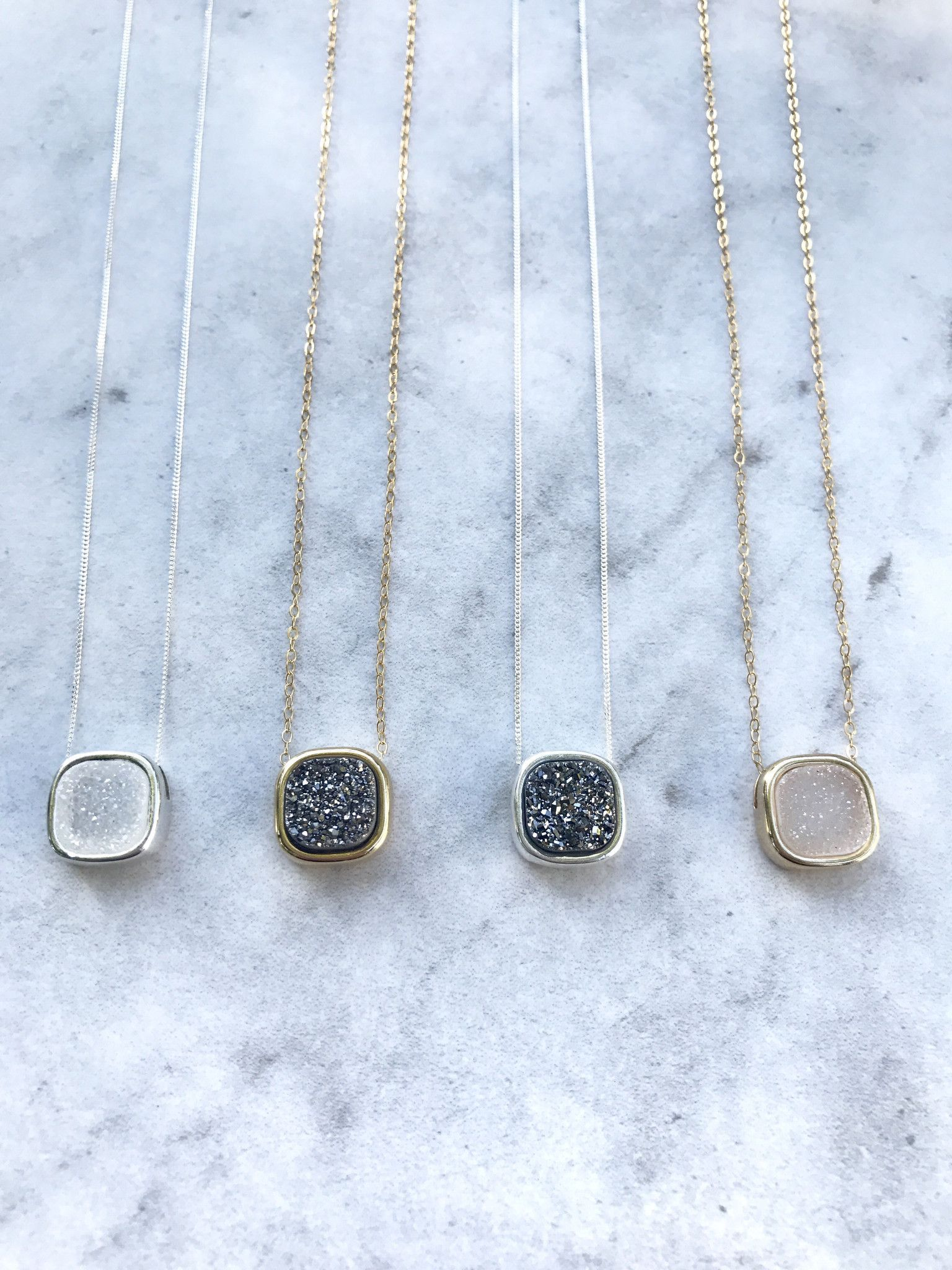 Druzy square bezel necklace simple elegant necklaces pinterest