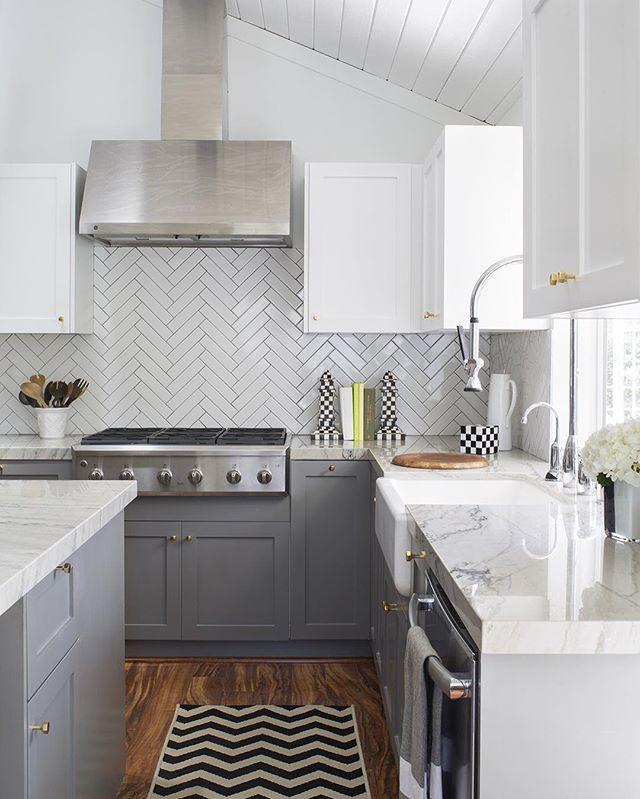 Best White Grey Herringbone Subway Tile … Kitchen Tiles 400 x 300