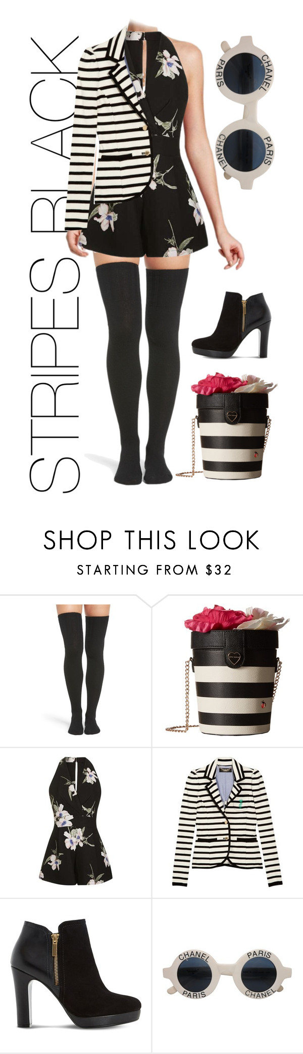 """""""Stripes Black set"""" by mylene-echelon ❤ liked on Polyvore featuring Peony & Moss, Betsey Johnson, Topshop, Juicy Couture, Dune and Chanel"""
