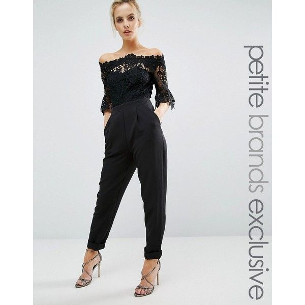 Paper Dolls Petite Bardot Cutwork Lace Tailored Jumpsuit (2 740 UAH) ❤ liked on Polyvore featuring jumpsuits, black, petite, petite jumpsuit, tailored jumpsuit, lace jumpsuit and jump suit