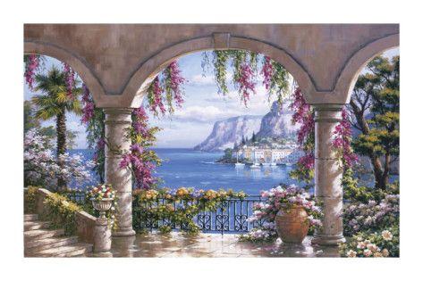 Floral Patio I Art Print