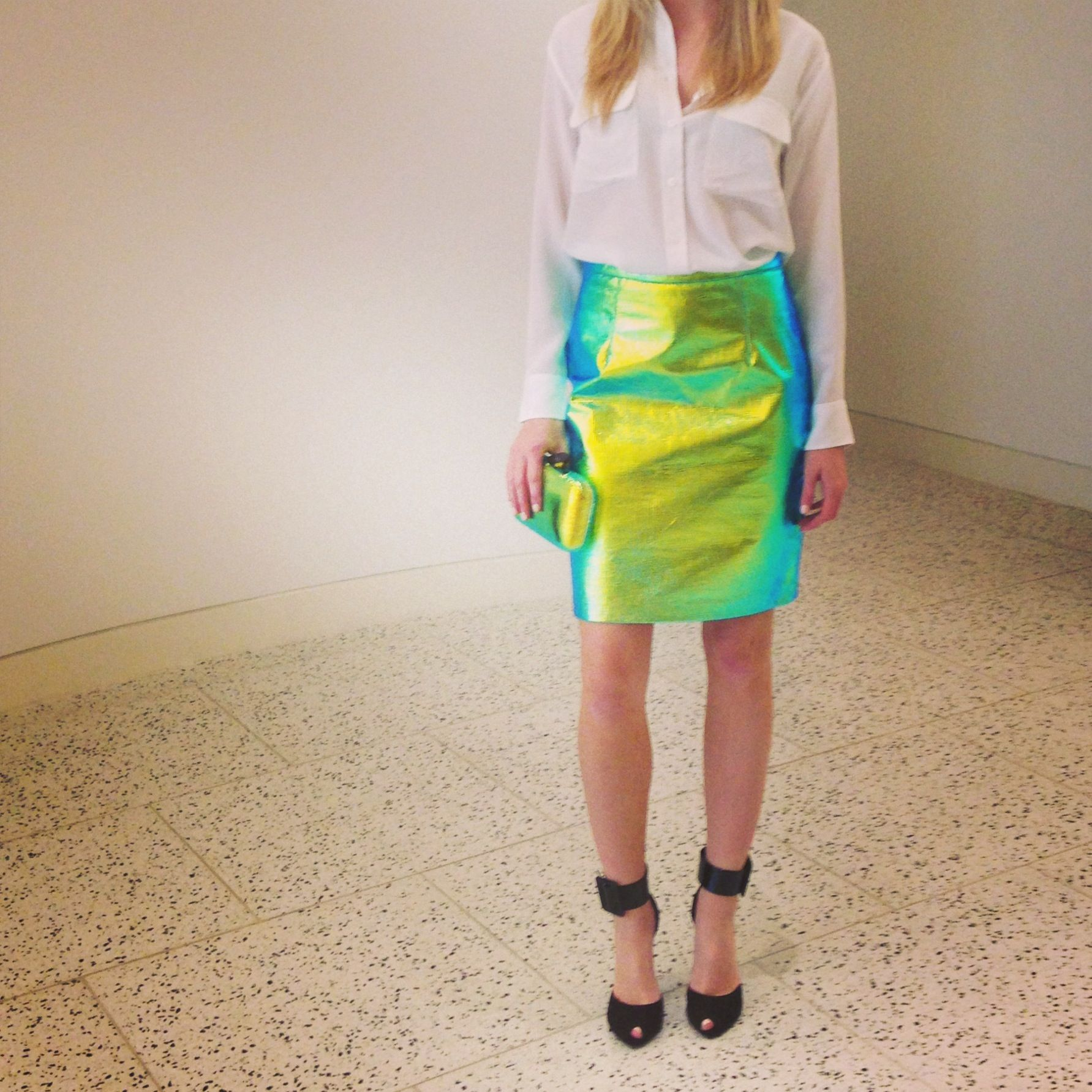 @M ! by Michelle Smith skirt, @Equipment blouse, @Fiona Kotur clutch, & @Yves Bonis Saint Laurent shoes at #TOOTSIES!