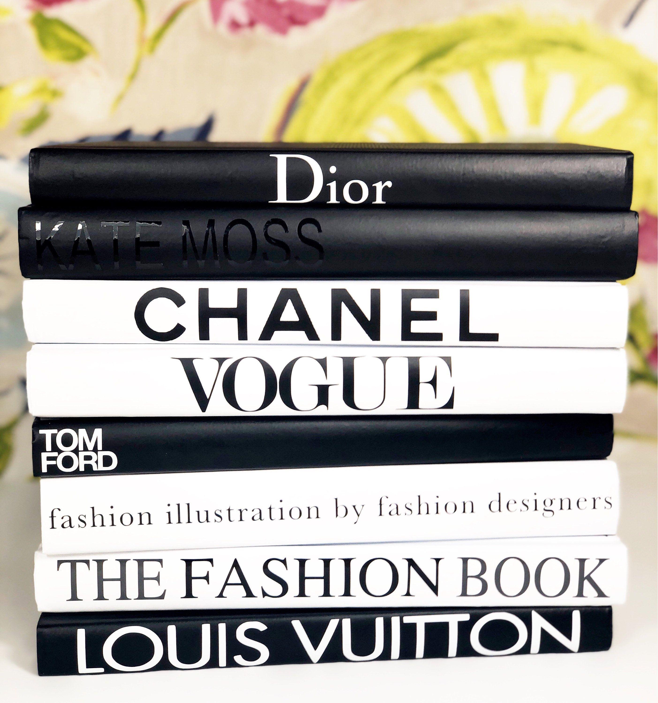 8 Books Black White Grey Designer Book Set Coco Chanel Tom Ford Louis Vuitton Hermes Vogue