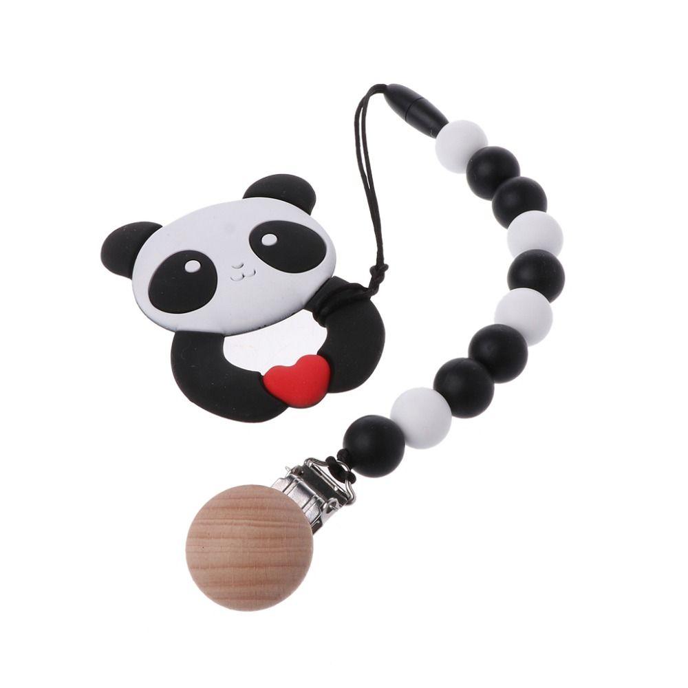 Bebe Mordedor Anillo Con Clip De Cadena Chupete Panda Libre De Bpa