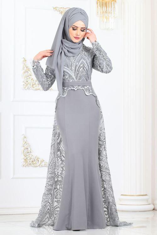 Modaselvim Abiye Pul Payet Dantelli Balik Abiye 8957w153 Gumus Model Pakaian Hijab Wanita Model Pakaian