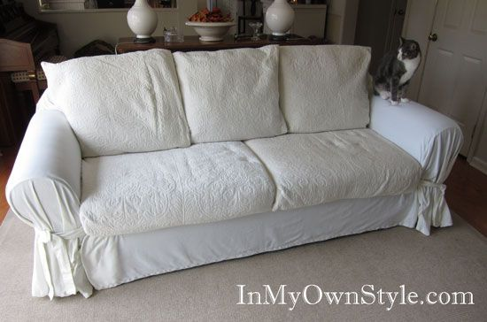 How To Cover A Chair Or Sofa With A Loose Fit Slipcover And Your Own  Covered Cushions, Family Room Z
