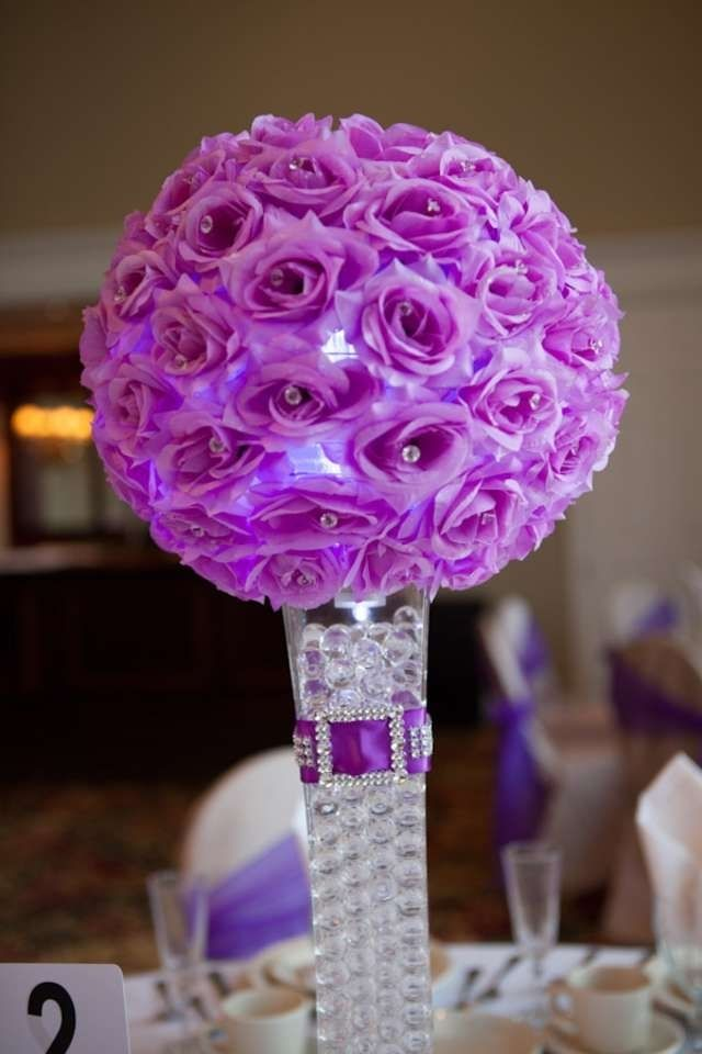 Elegant purple wedding centerpieces and decorations