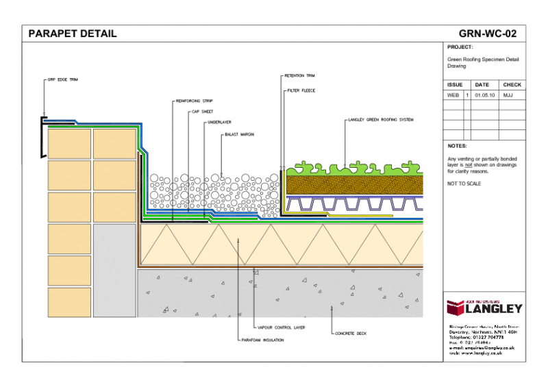 Grn Wc 02 Green Roofing Parapet Detail Drawing Qx90 Png 800 565 Green Roof Roofing Green Roof System