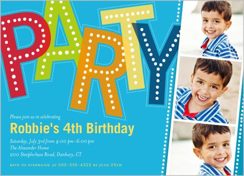 Party Filmstrip Boy 5x7 Stationery Card by Brejer Shutterfly