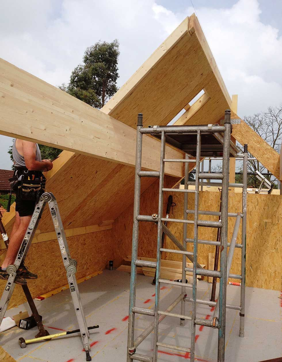 Close Up Of Sips Vaulted Roof Structural Insulated Panels Sips Panels Roof Construction