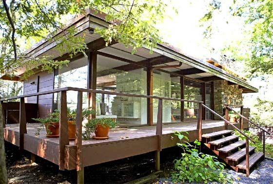 Simple Rail posts. Stunning Lake front Mid Century House ...