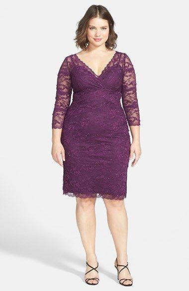 Marina Embellished Three Quarter Sleeve Lace Dress (Plus Size ...