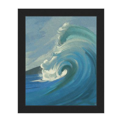 """Click Wall Art Crashing Wave Framed Painting Print on Canvas Frame Color: Black, Size: 26.5"""" H x 22.5"""" W x 1"""" D"""