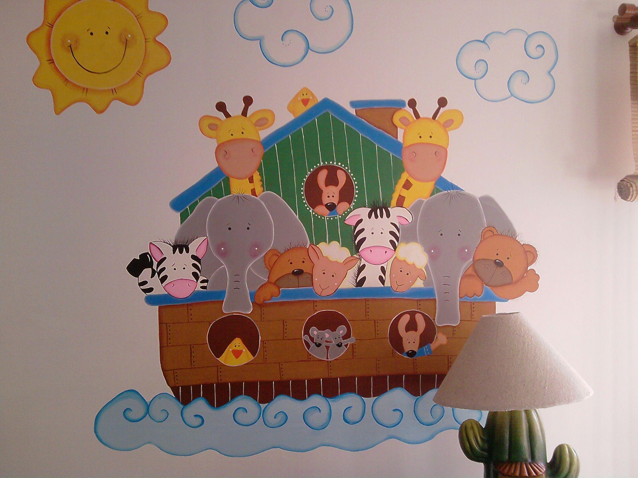 Mural infantil arca de noe iglesia infantil pinterest for Decoracion para paredes