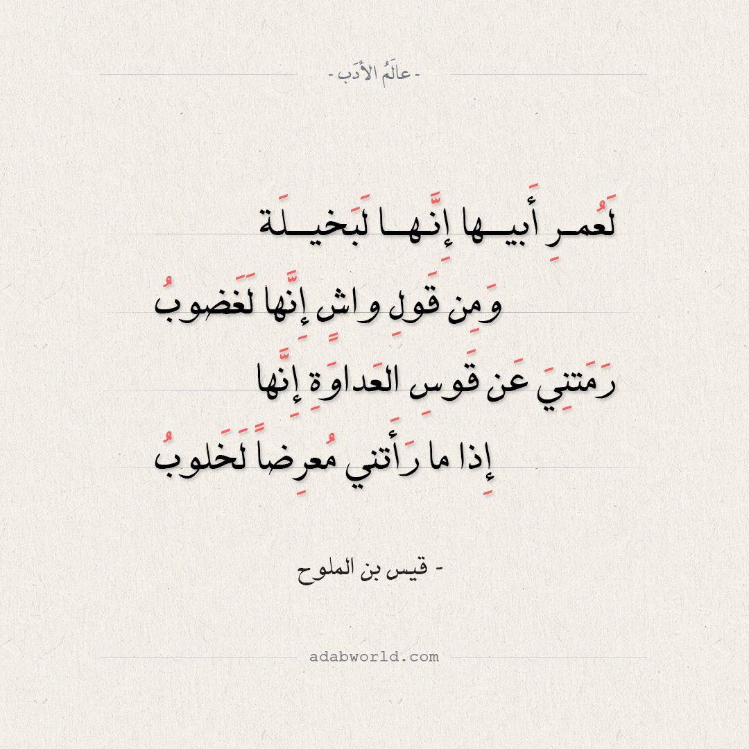 شعر قيس بن الملوح لعمر أبيها إنها لبخيلة عالم الأدب Math Calligraphy Arabic Calligraphy