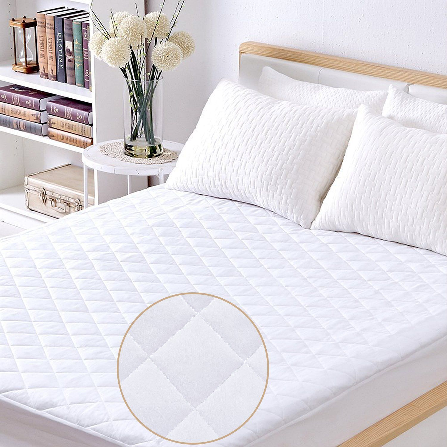 100 Waterproof Hypoallergenic Quilted Fitted Mattress Pad Stretched To Fit Deep Pocket Mattress Protector Vinyl Fre Mattress Pad Cover Mattress Pad Mattress
