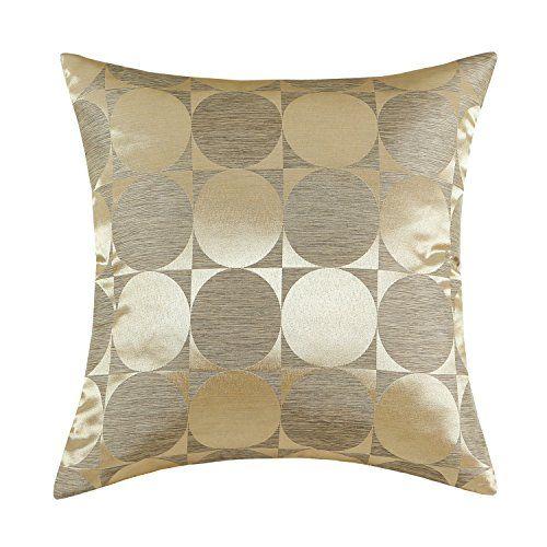 Amazon Com Euphoria Cushion Covers Pillows Shell Contemporary Modern Style Brown Texture Ground Gold Circles 17 X 17 Pillows Brown Texture Throw Pillows