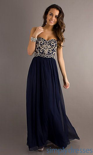 19d2391a7da Strapless Floor Length Dress at youtube to mp3 youtube to mp3 Navy Blue  Prom Dresses